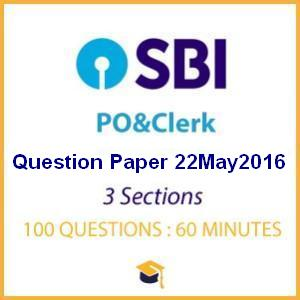 SBI Prelims Previous Year Question Paper 2016 (22 May)